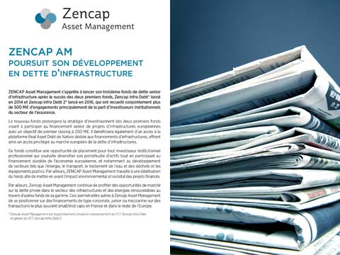 Zencap AM poursuit son développement en dette d'infrastructure
